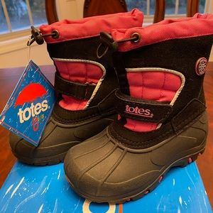 NIB Totes Kids Black/Pink Snow/Cold Weather Boots